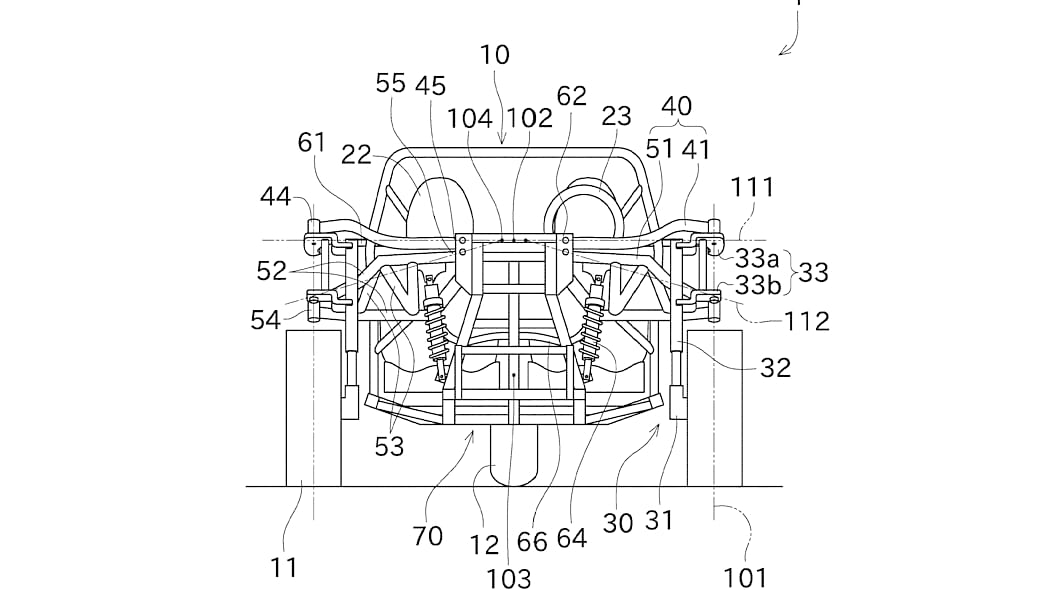 Kawasaki three-wheeler patent design head-on