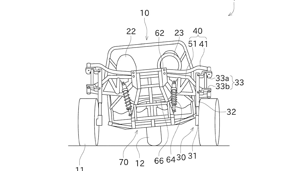 Kawasaki three-wheeler patent design turning/leaning mechanism in action