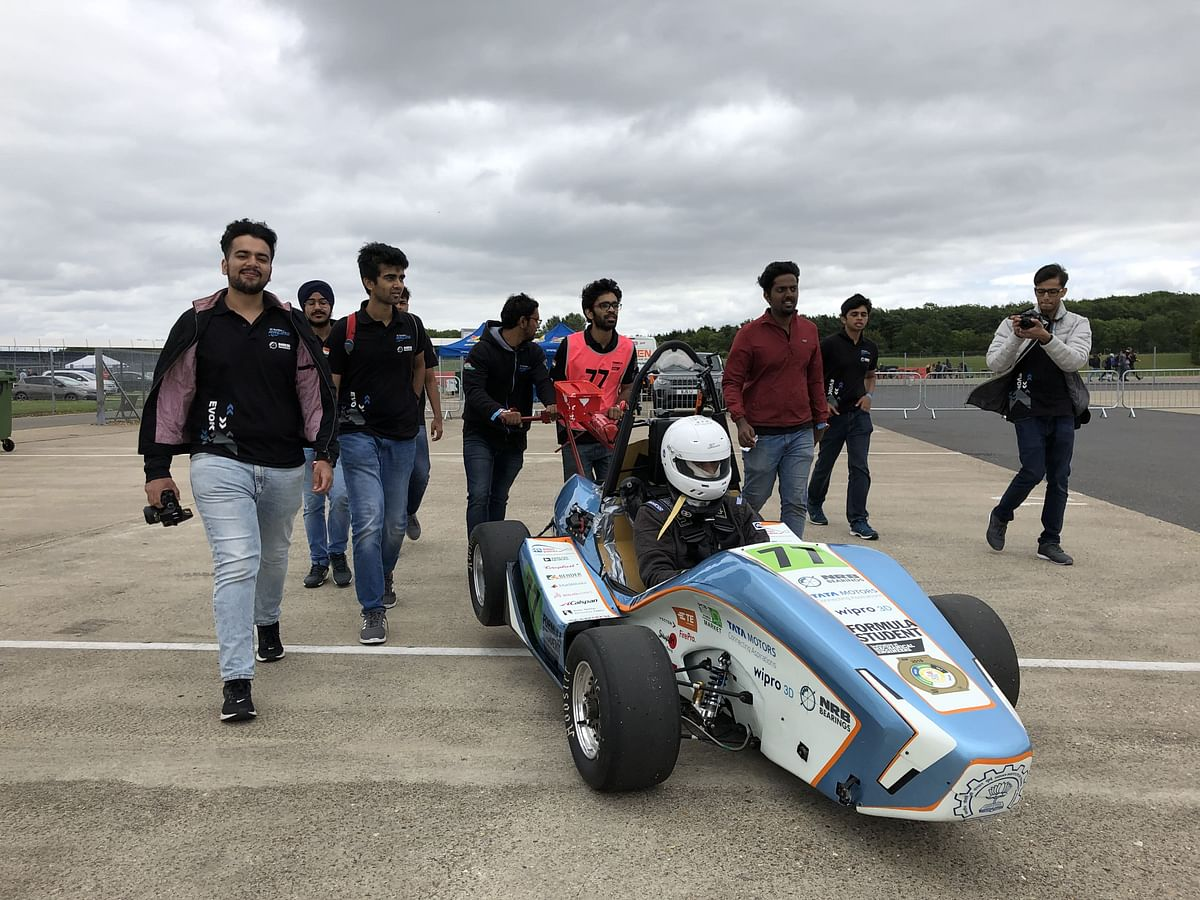About a 100 students build this racecar, with some help from their faculty too!