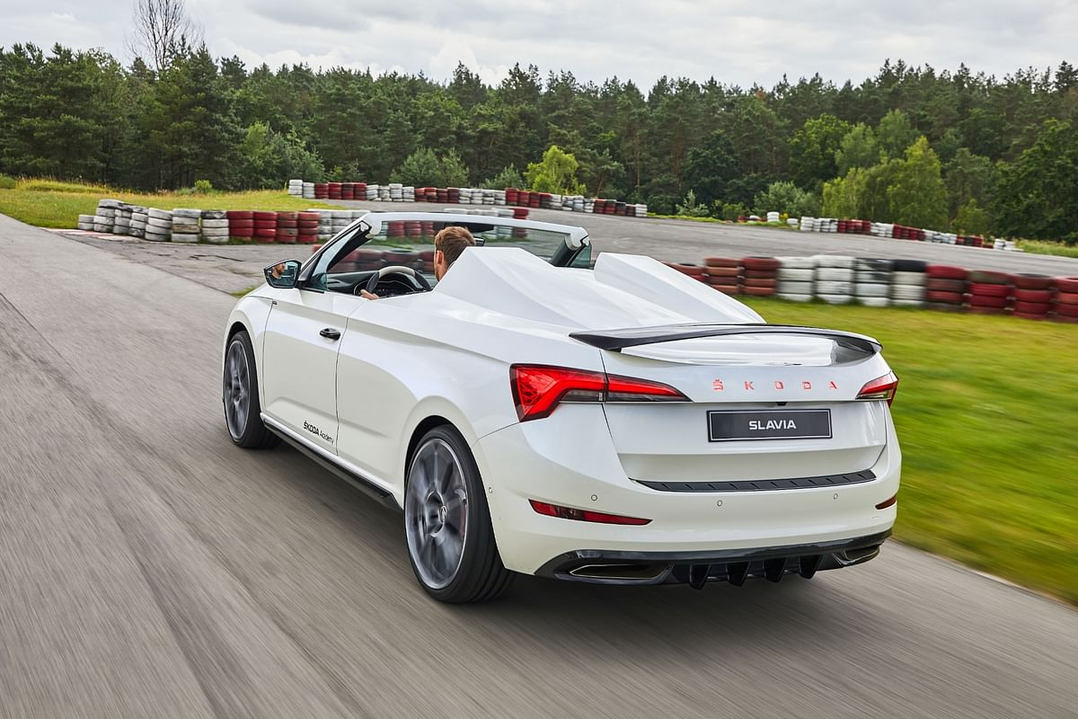 Speedster humps behind the seats a nod to the sporting heritage of the Skoda brand