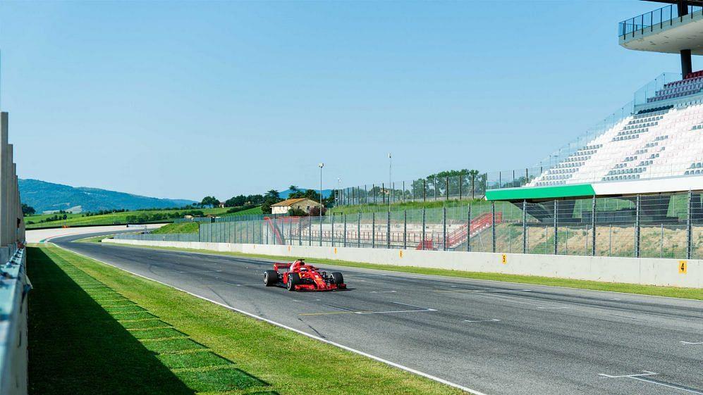 Vettel driving a 2018-spec Ferrari at Mugello in June