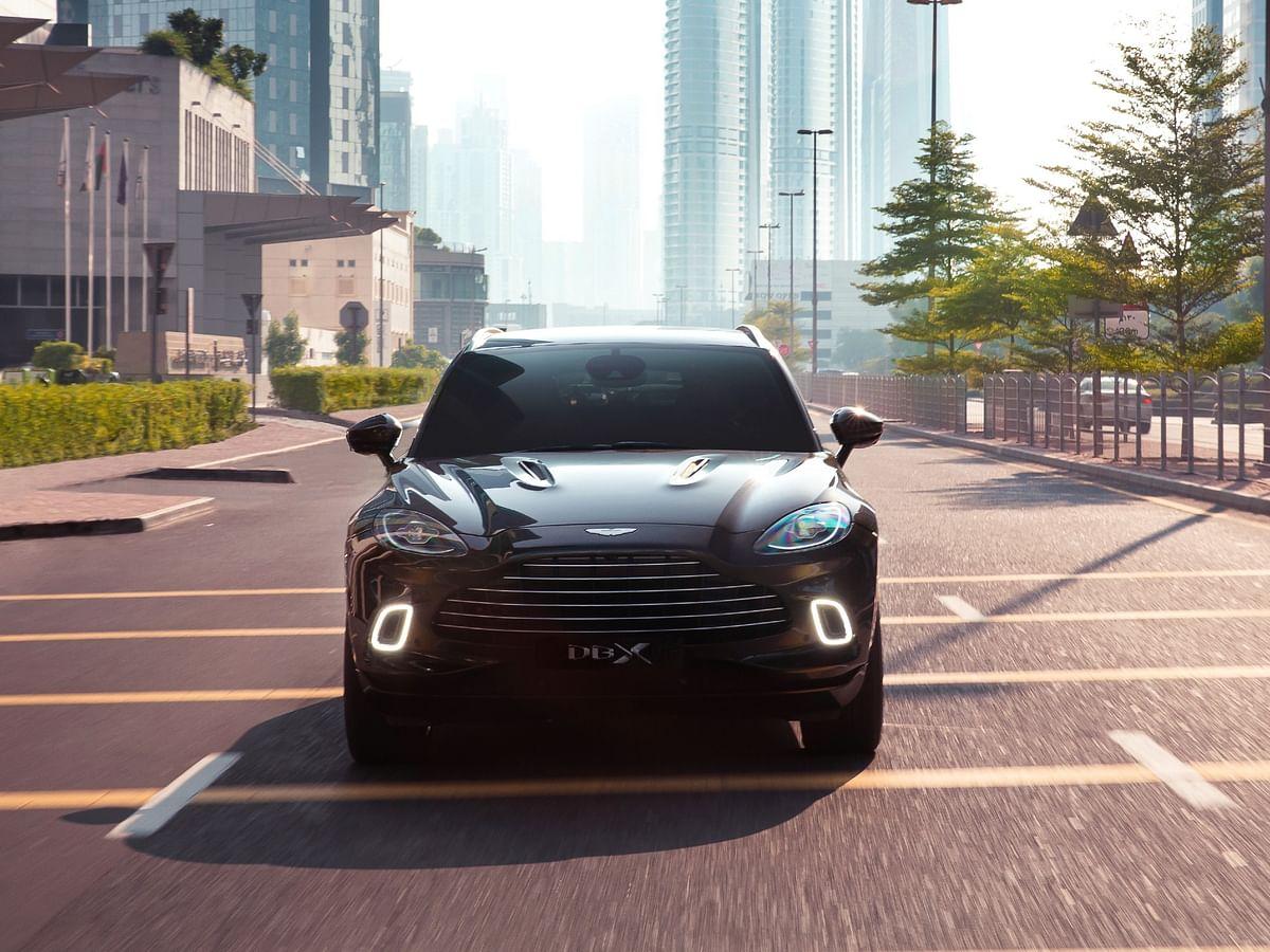 Front fascia is unmistakable Aston Martin