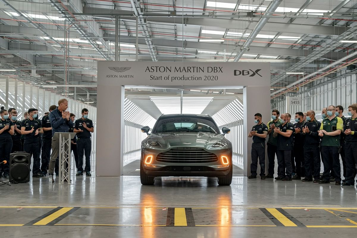 The first DBX SUV rolls off the production line at Aston Martin's St Athan facility in Wales