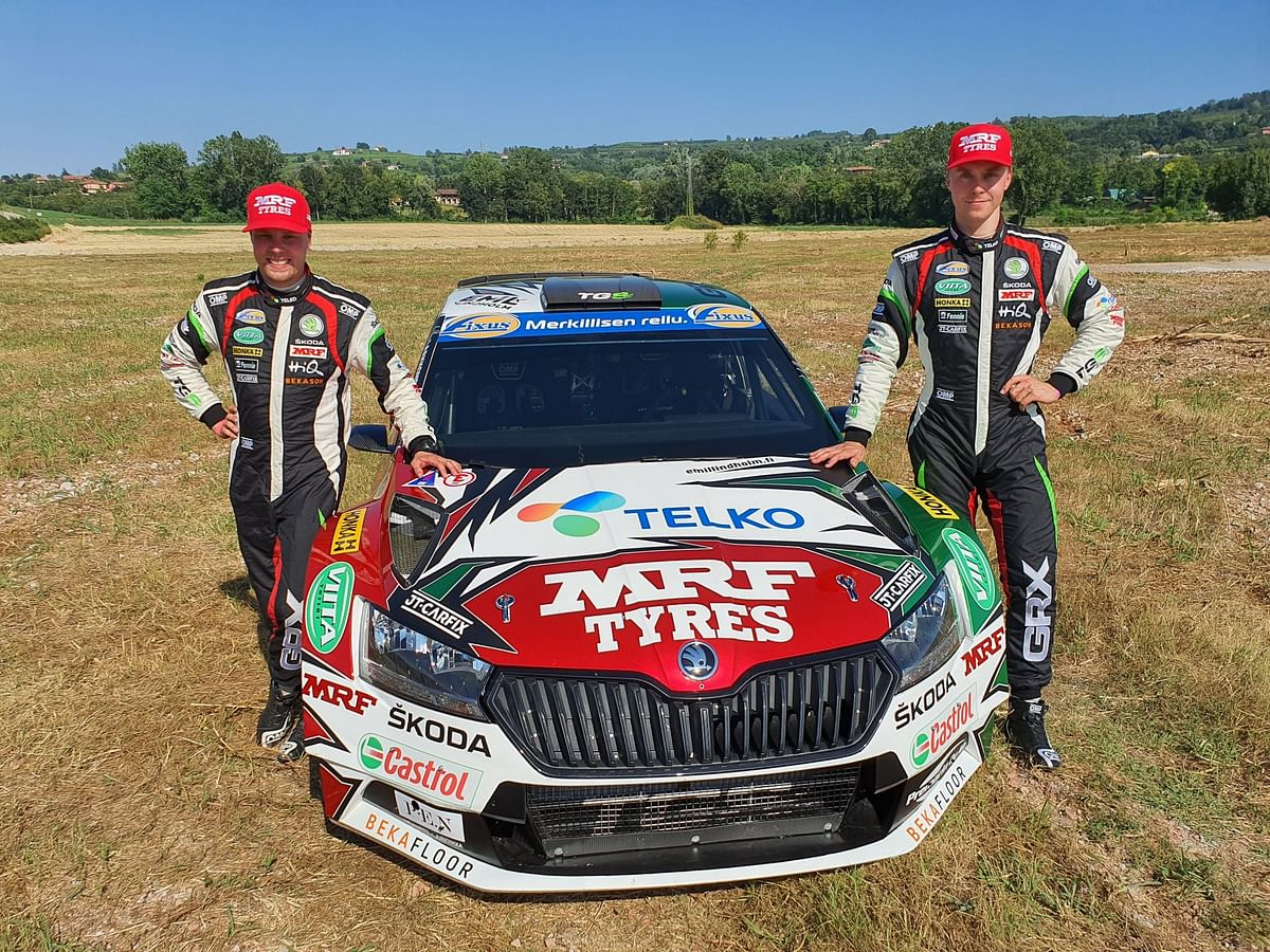 Emil Lindholm and Mikael Korhonen with the Team MRF Tyres Skoda Fabia R5 evo2