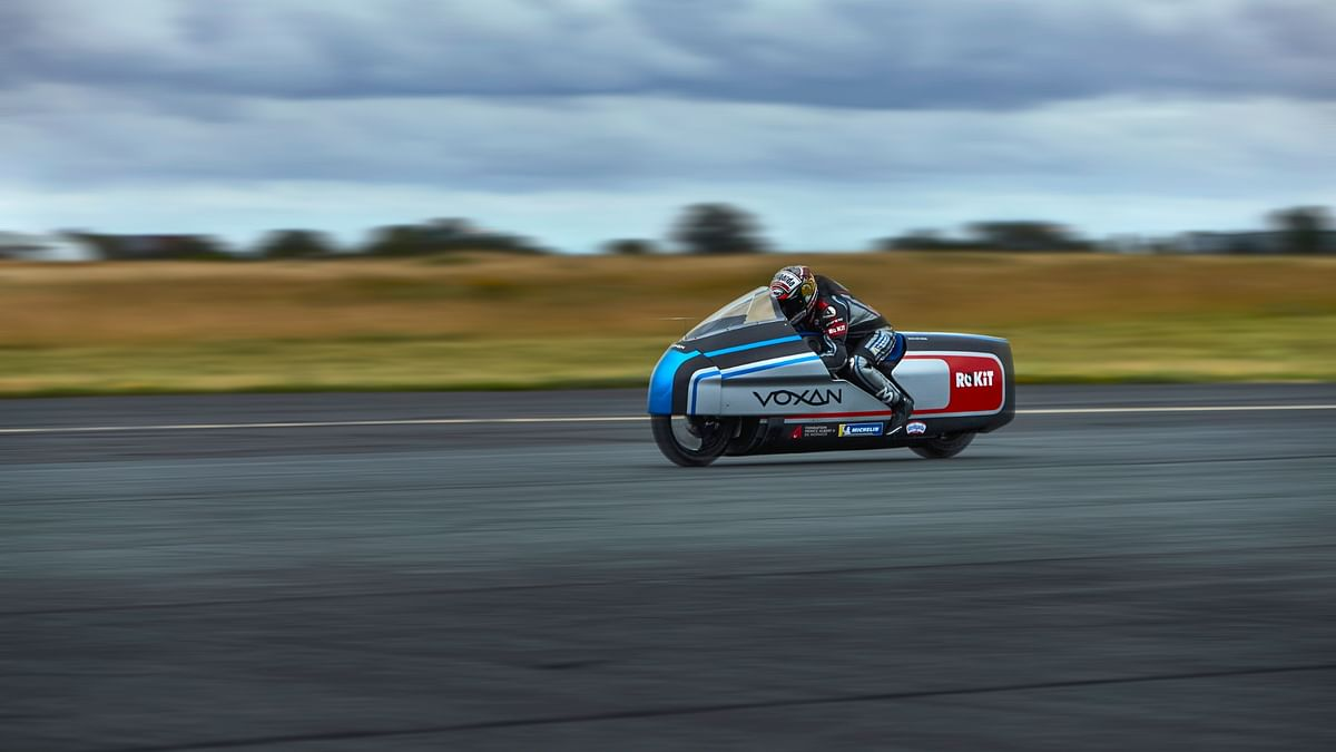 Max Biaggi testing the Voxan Wattman land speed record bike