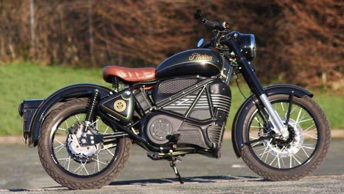 An electric bike based on the Royal Enfield Bullet, dubbed the Photon