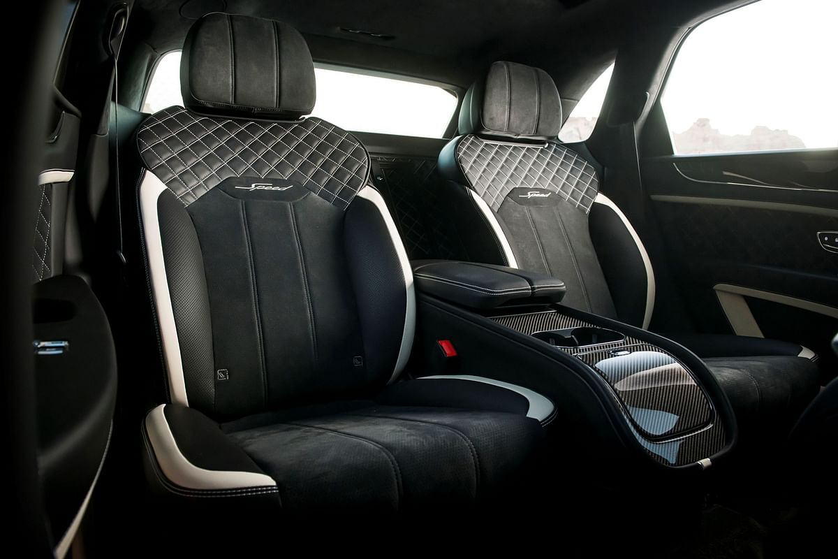 Alcantara seats with custom Speed stitches on the backrest