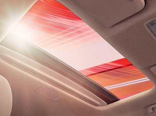 The new one-touch electric sunroof is a class-leading feature in the Jazz