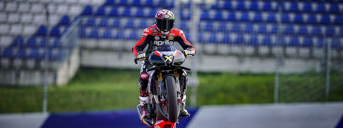 The Aprilia Tuono V4 on the race track, showing off its insane power