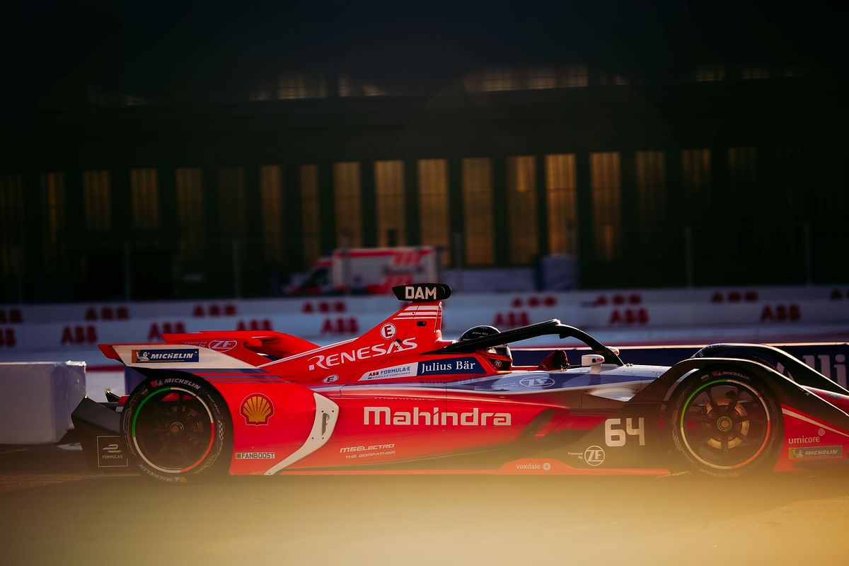 Jerome D'Ambrosio in his Mahindra Racing formula electric