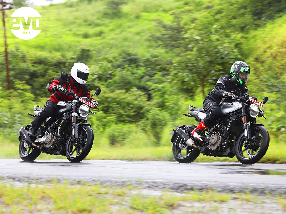 The Vitpilen is inspired by a cafe racer while the Svartpilen is styled after a scrambler