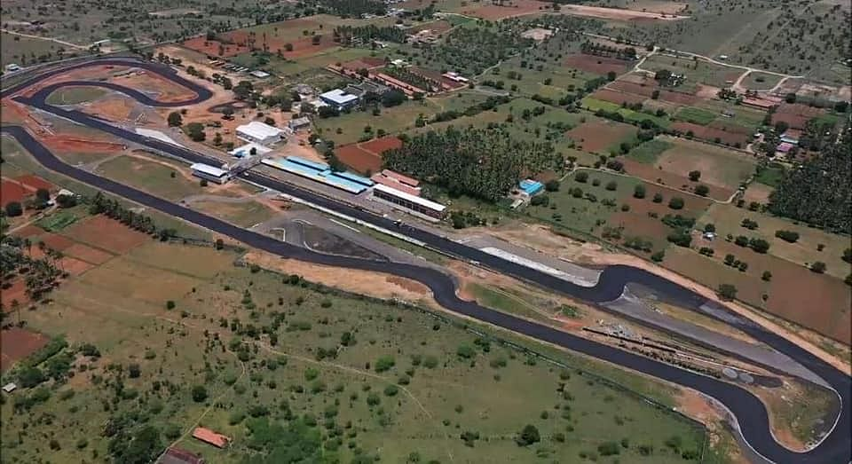 An aerial glimpse of the redesigned Kari Motor Speedway