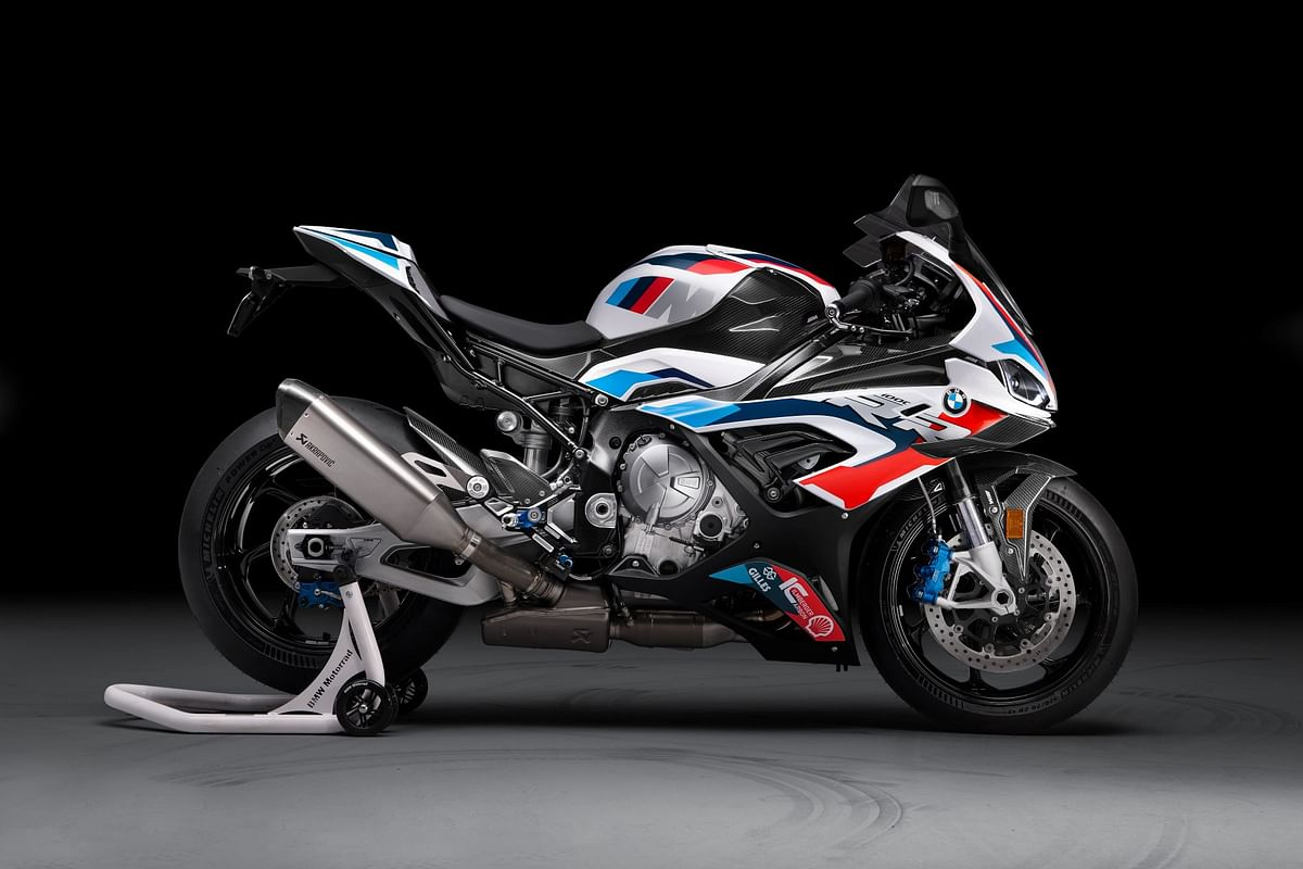 The BMW M 1000 RR is a carbon fibre laden motorycle with a titanium exhaust system