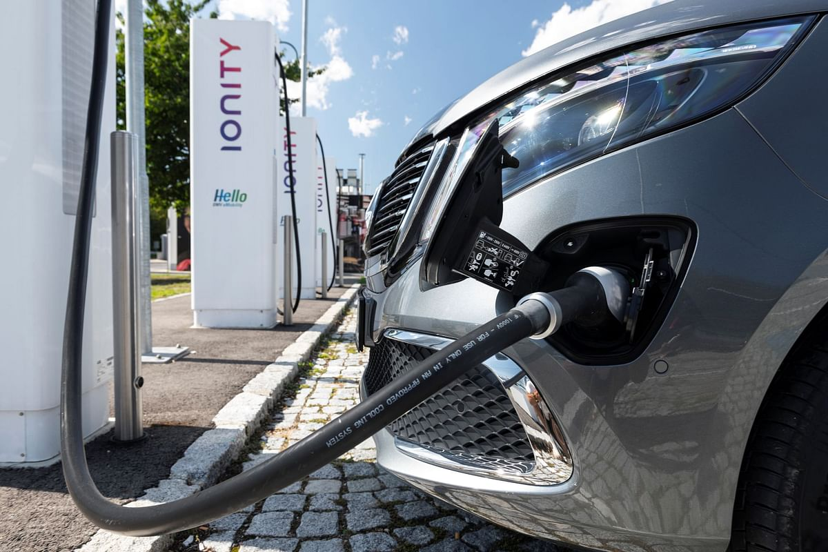 The EQV can fill its batteries up in 45 minutes on 110kW fast charging