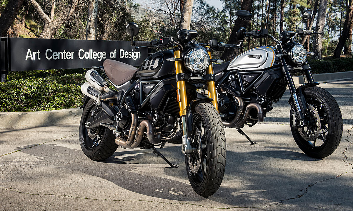 The new Ducati Scrambler 1100 in Sport Pro moniker to the left and Pro guise to the Right