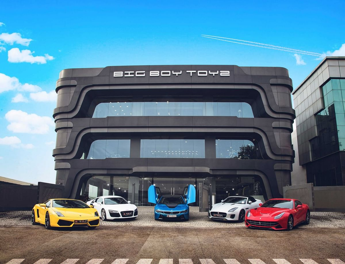 A slew of supercars outside the flagship Big Boy Toyz showroom in Gurugram