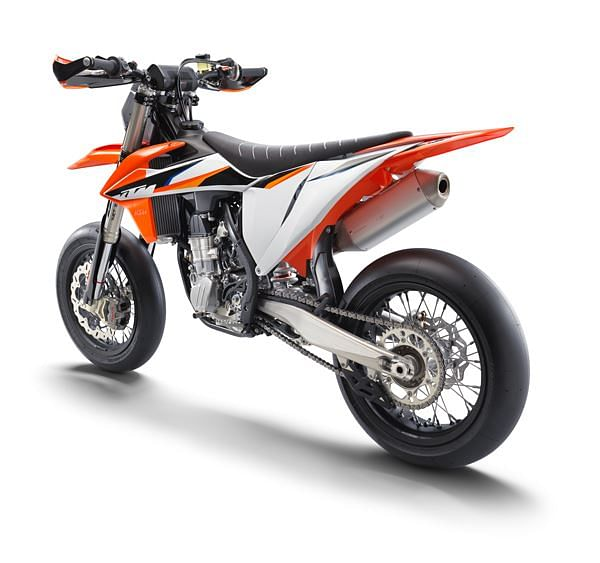 The new 450 SMR features a diecast swingarm and spoked wheels shod in racing slicks