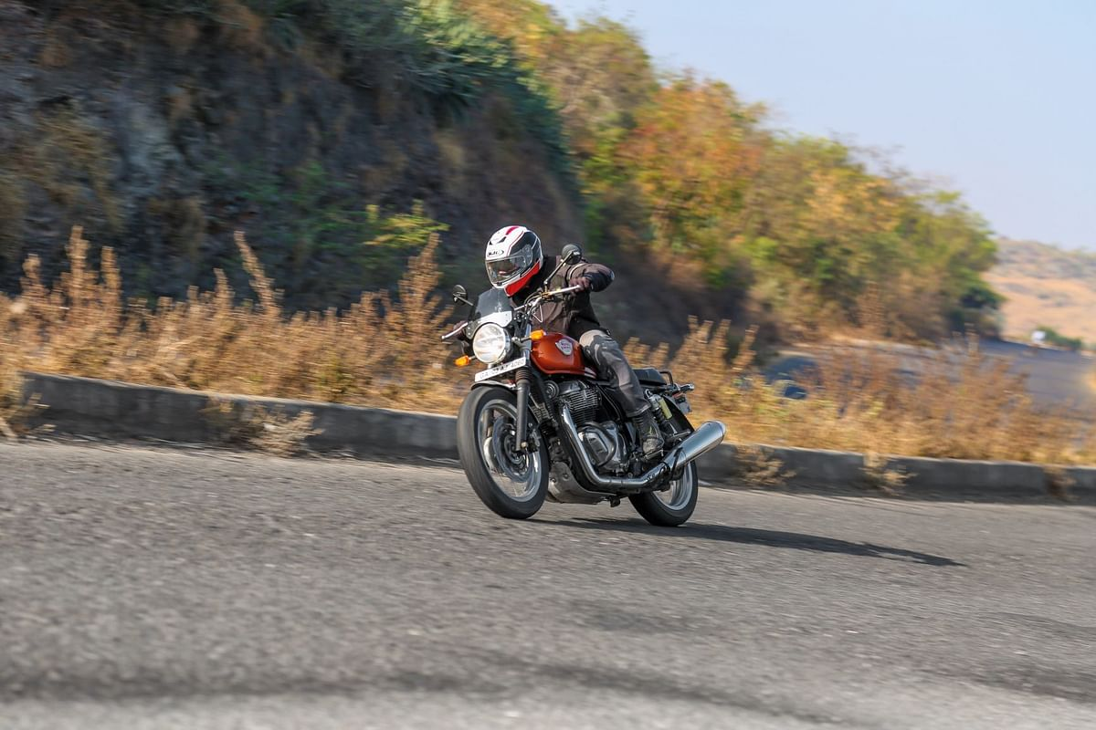 Abhishek putting the Interceptor through its paces