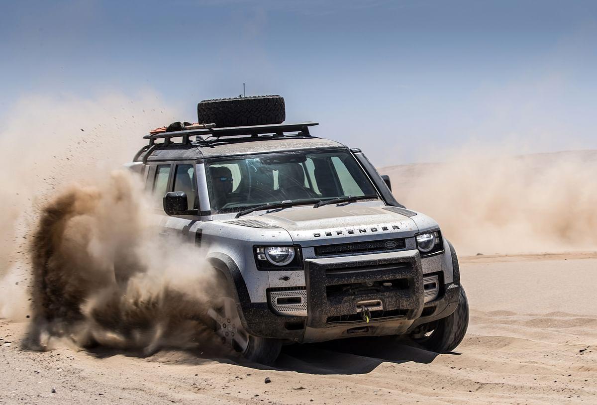 Land Rover Defender 110 undergoing testing in the Nambian Desert