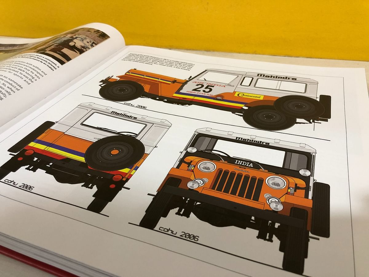 A few of the gorgeous illustrations that trace the history of Mahindra