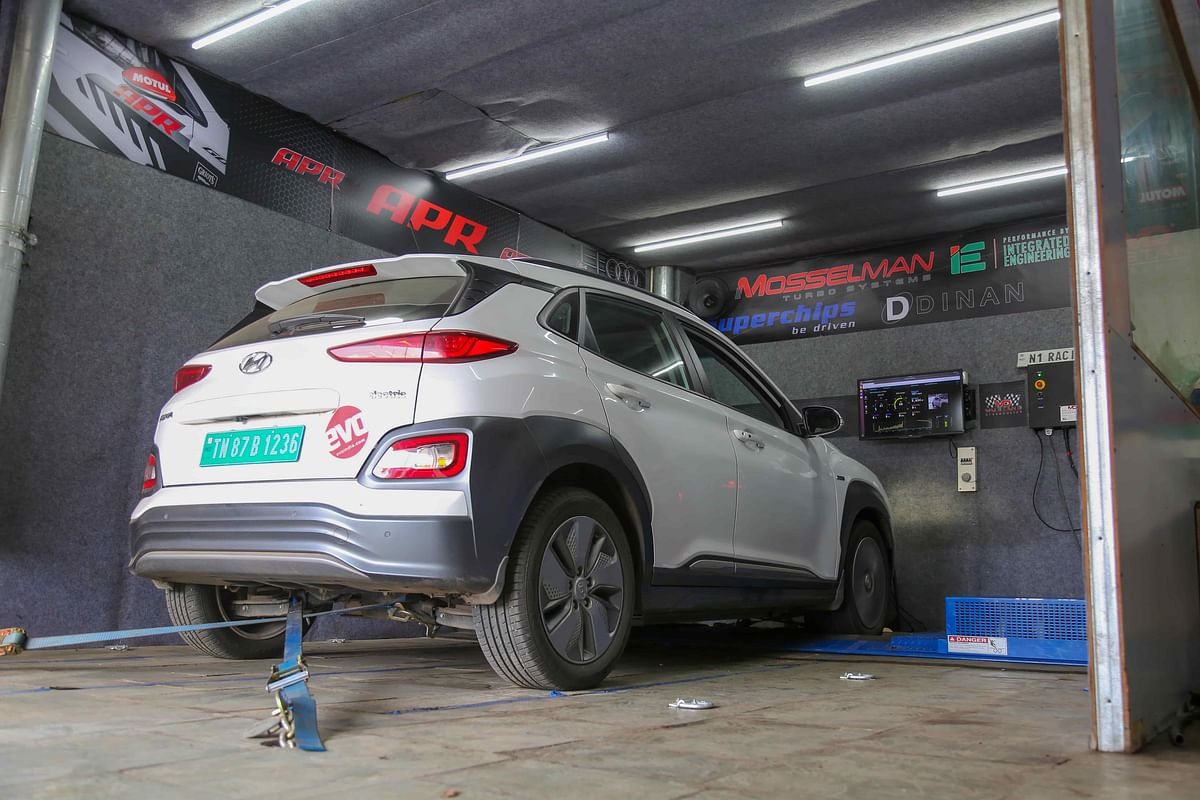 An EV on a dyno is an unusual sight, and makes an unusual sound too