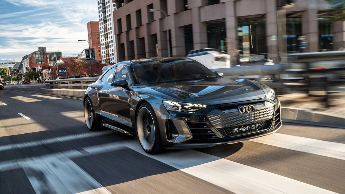 The e-Tron GT hardly stands out in traffic, till it soundlessly passes you by