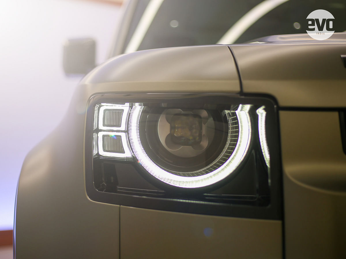 LED headlamps with circular surrounds, inspired by the original Defender's headlamps