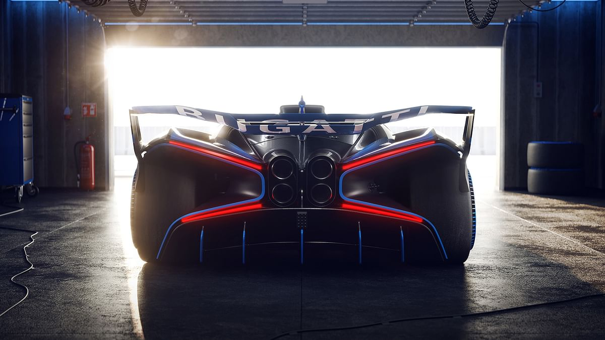 Only 40 per cent of the bodywork is painted in the iconic French Racing Blue, rest is exposed carbonfibre