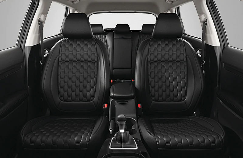 Seats are now in black-leatherette with honeycomb pattern