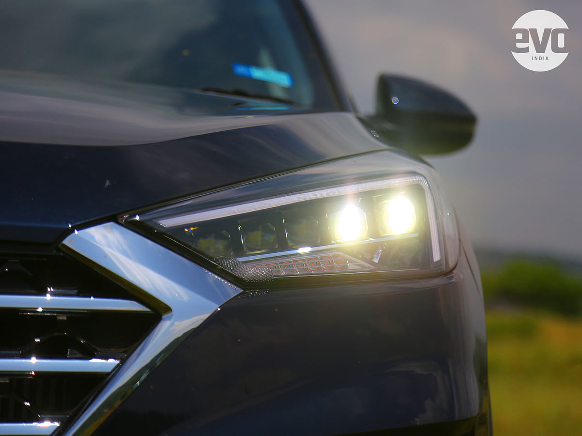 LED Penta-projector headlamps are a new feature on the Tucson