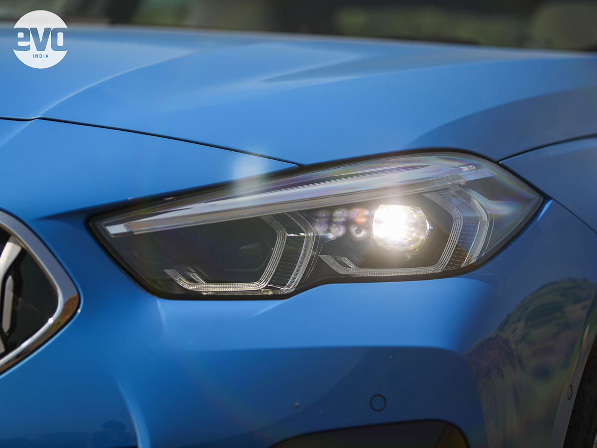 The double-barrel LED lighting is a signature trait of a Bimmer