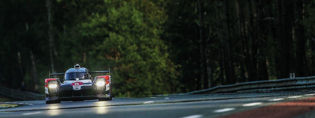 The Toyota TS050 Hybrid blasting around the Circuit de la Sarthe