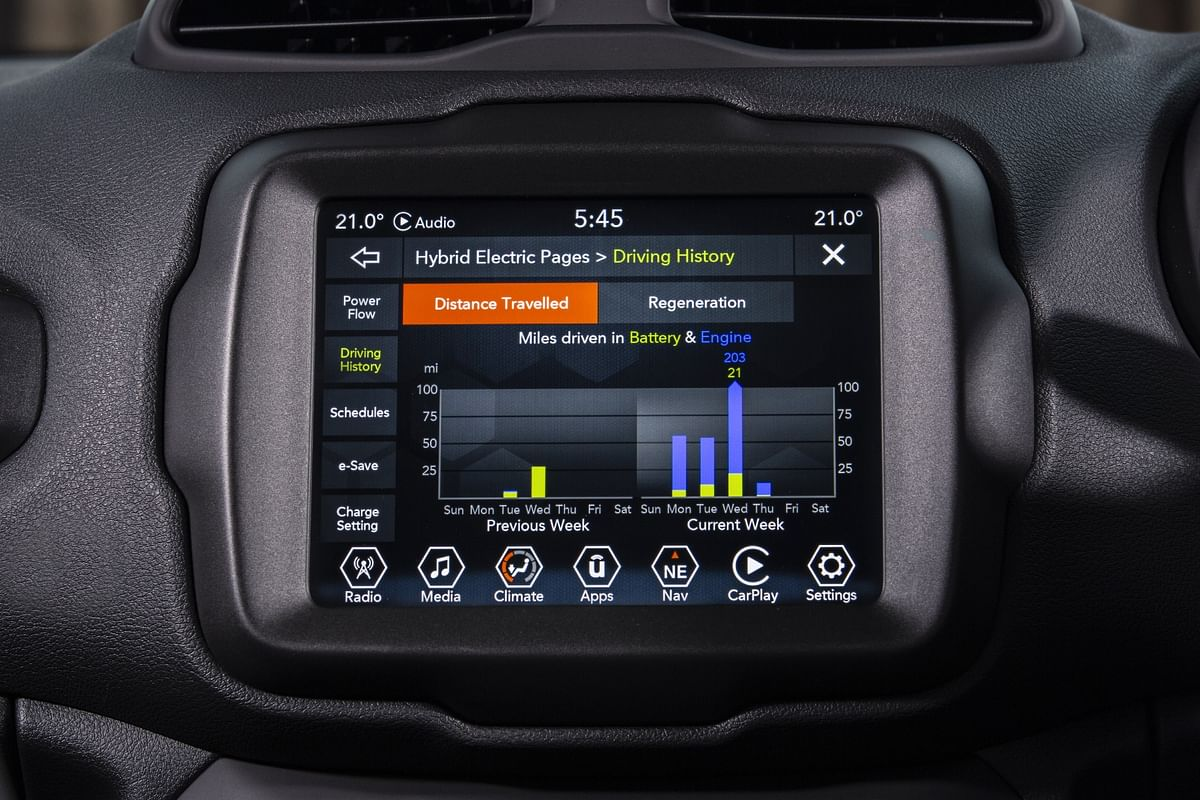 All info - music, bluetooth pairing, off-road and drive settings as well as battery info can be found here