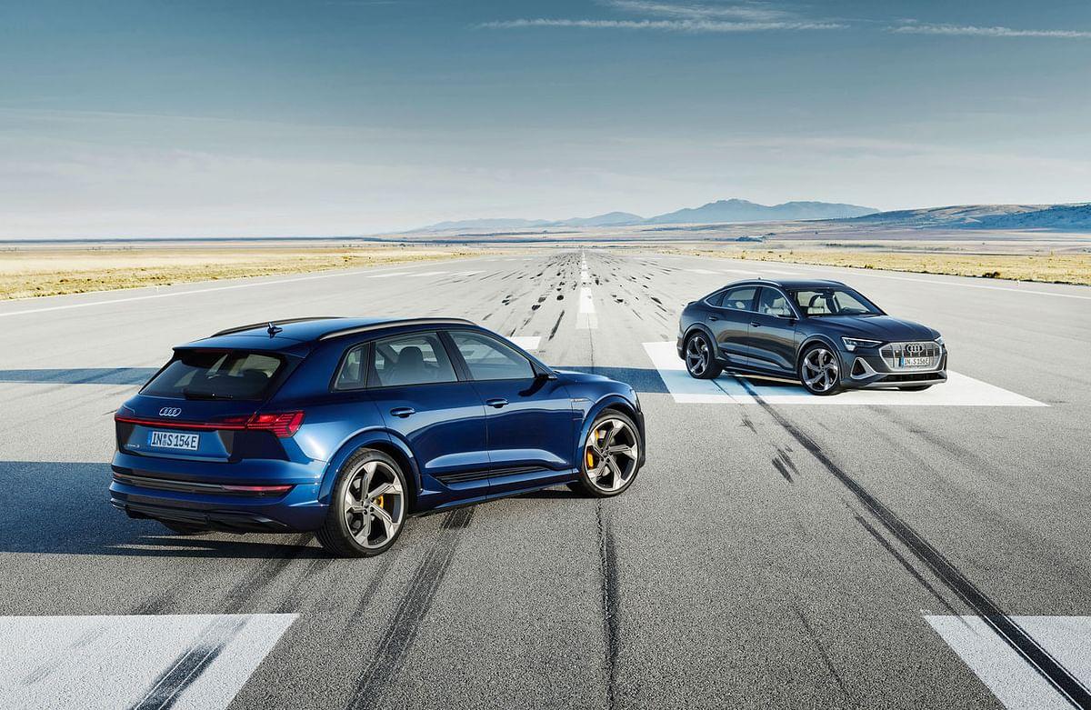 Audi e Tron S (left) has a more tradition SUV shape, while the e Tron S Sportback goes the coupe-SUV way