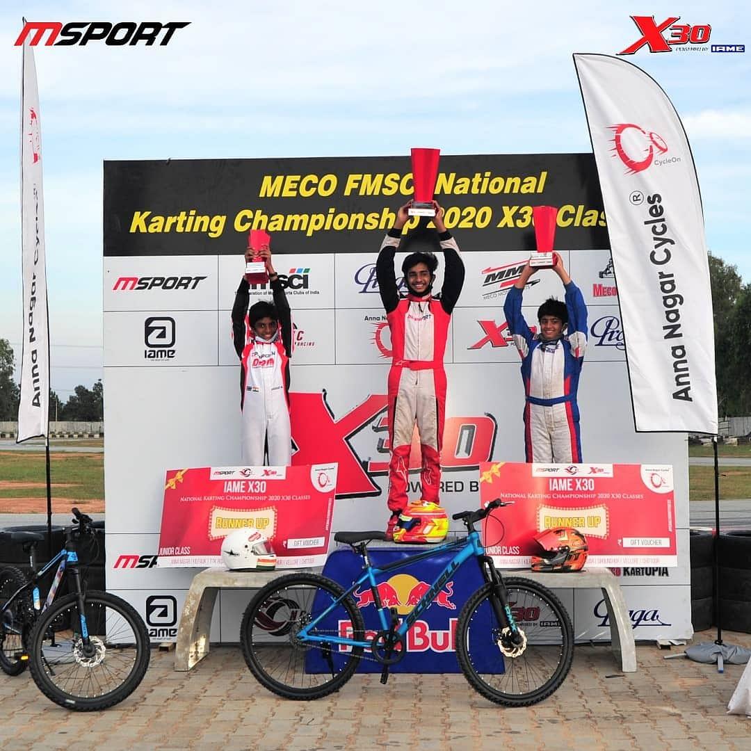 Ruhaan Alva, Ishaan Madesh and Suriya Varathan emerge the winners at the National Karting Championship X30 class