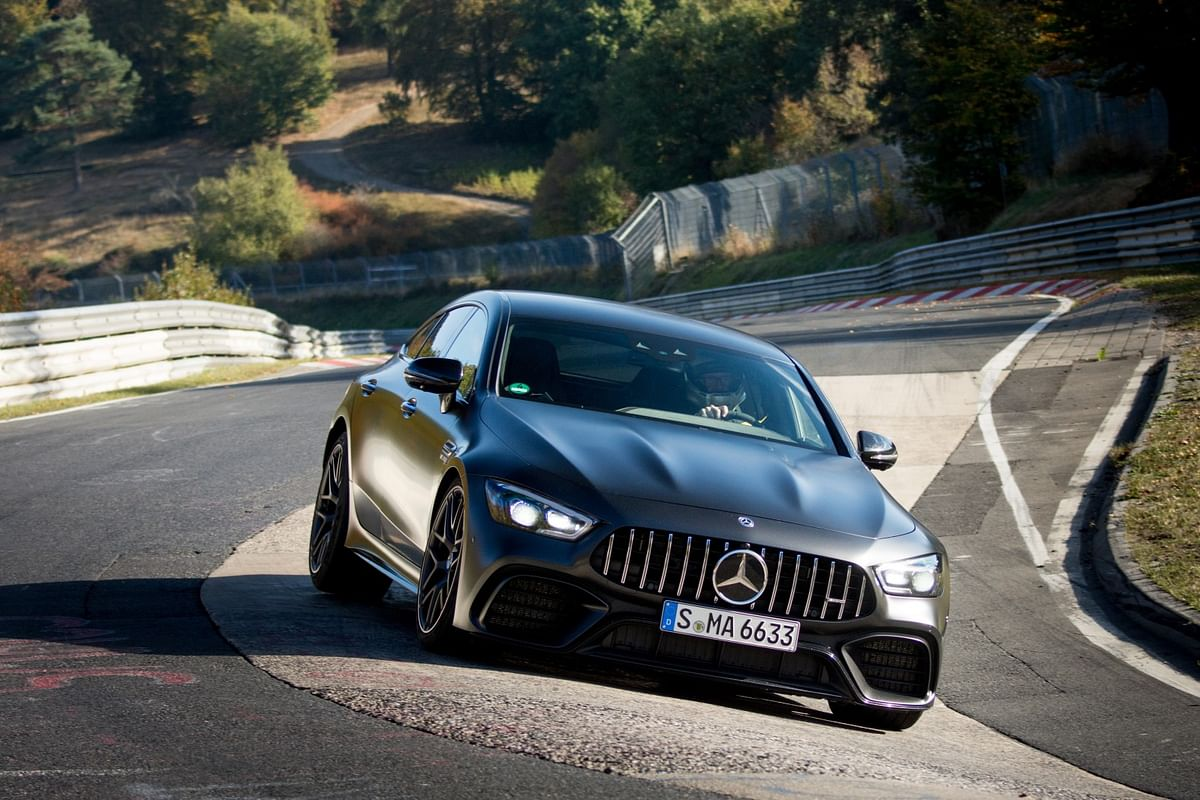 the Mercedes-AMG GT 63 S 4Matic+ driven by AMG development engineer Demian Schaffert,