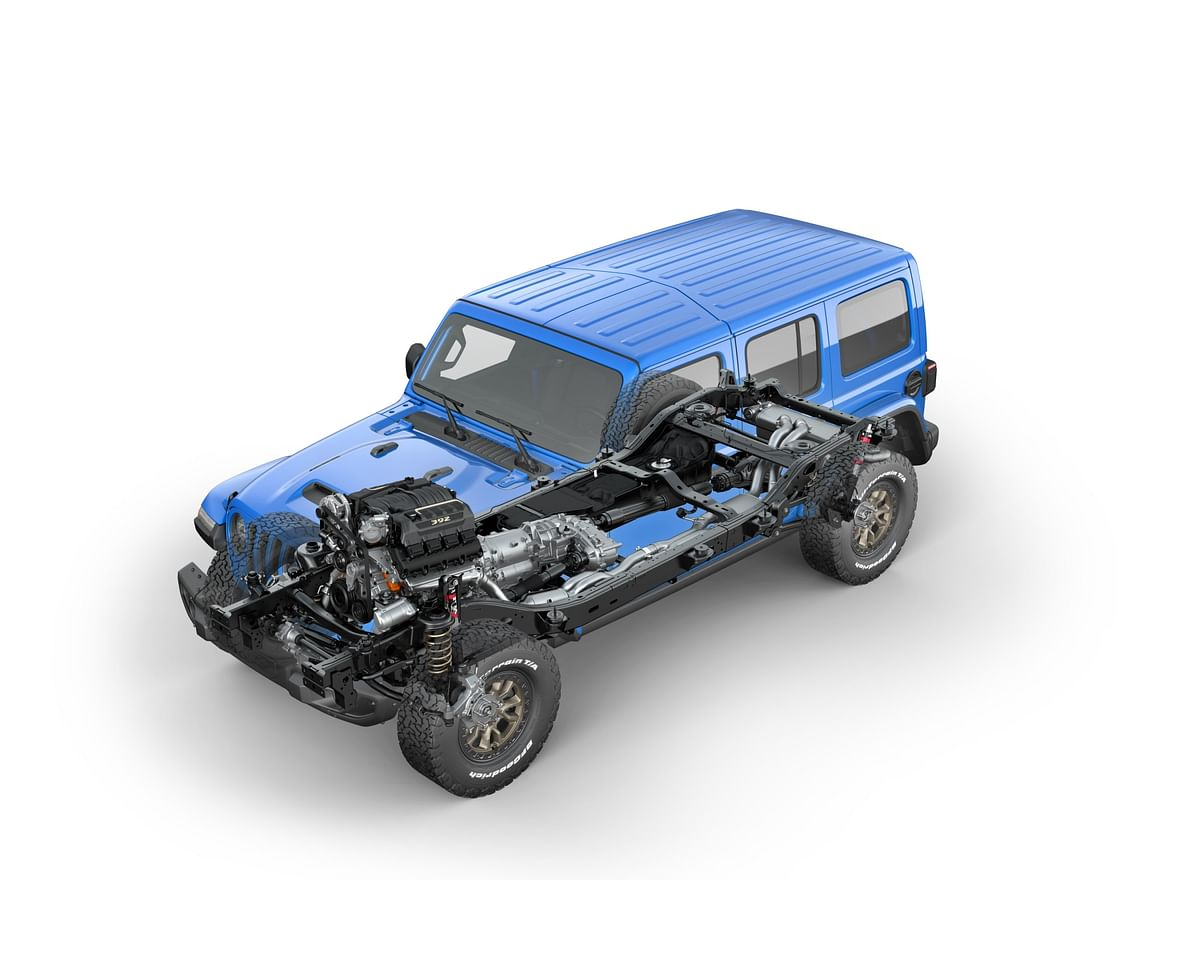 new V8 Wrangler now rides two inches higher on a Mopar lift kit and is also equipped with Fox Racing mono-tube shock absorbers