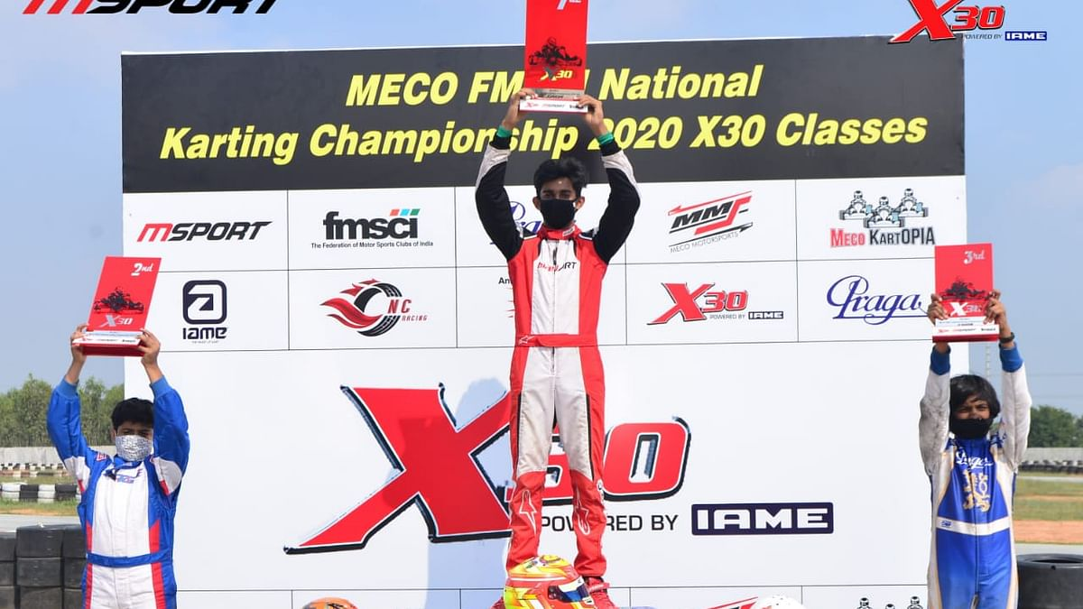 Ruhaan repeats the feat, heads the Junior category at the National Karting Championship X 30 class
