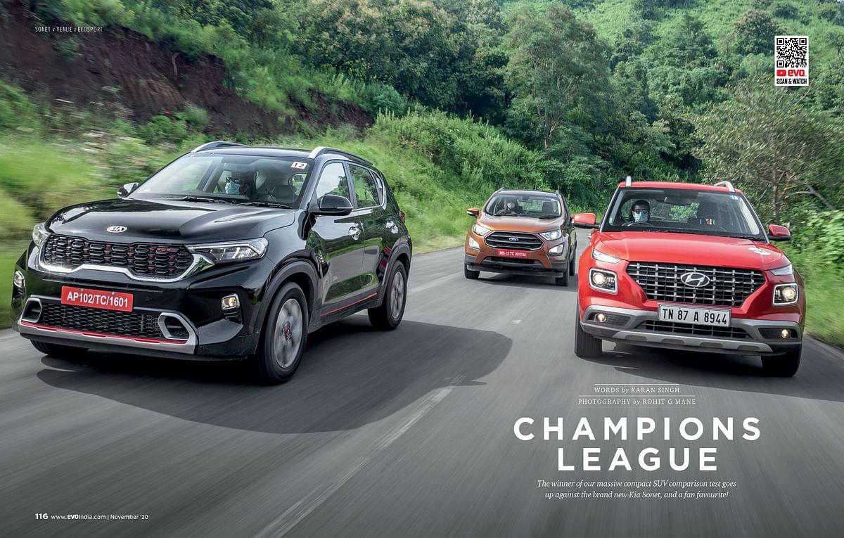 A copact SUV comparo betwenn the Kia Sonet, Hyundai venuee and Ford EcoSport