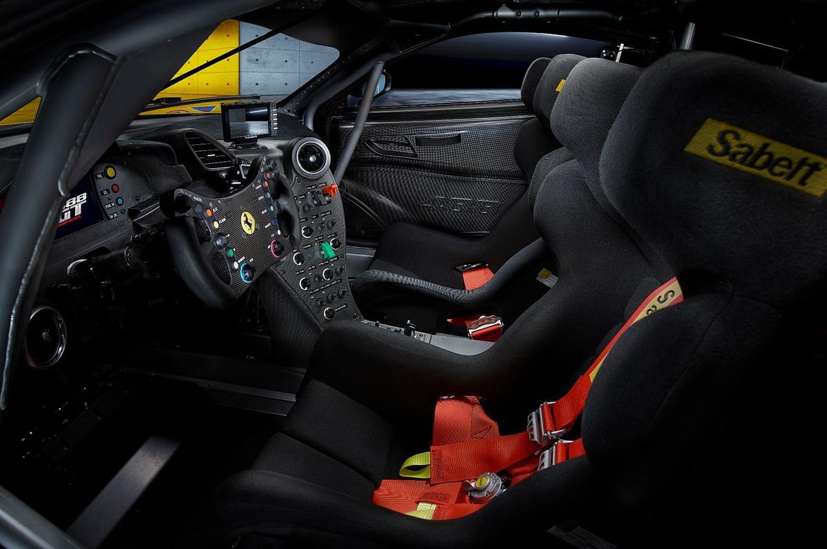 The Ferrari 488 GT Modificata's cabin is pretty barebones, as you'd expect