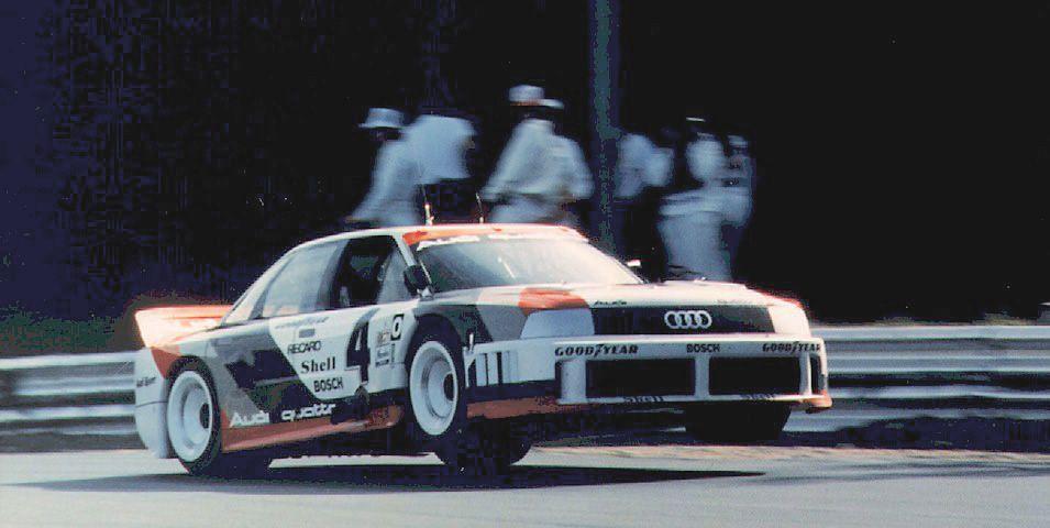 Hans Struck piloting an airborne Audi 90 Quattro at the 1989 IMSA series