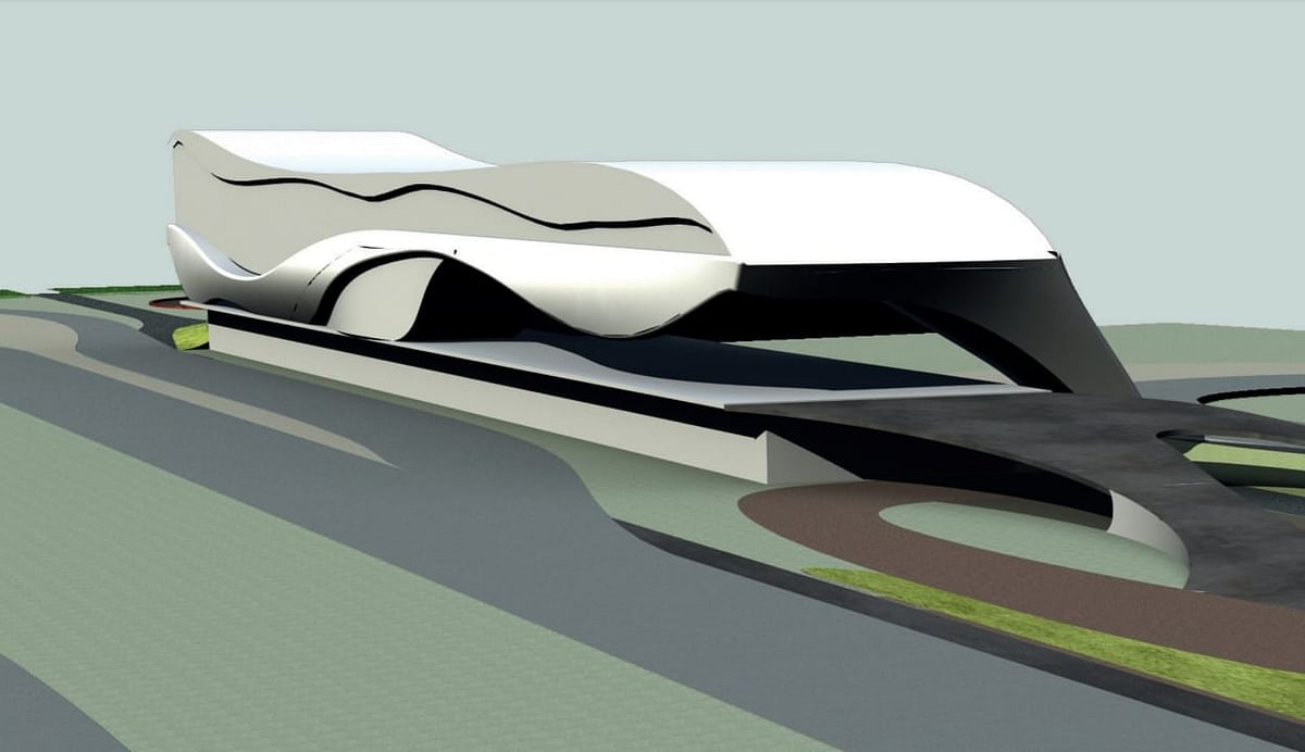 Initial design of the 3D view of the pitlane at the Pista Motor Raceway