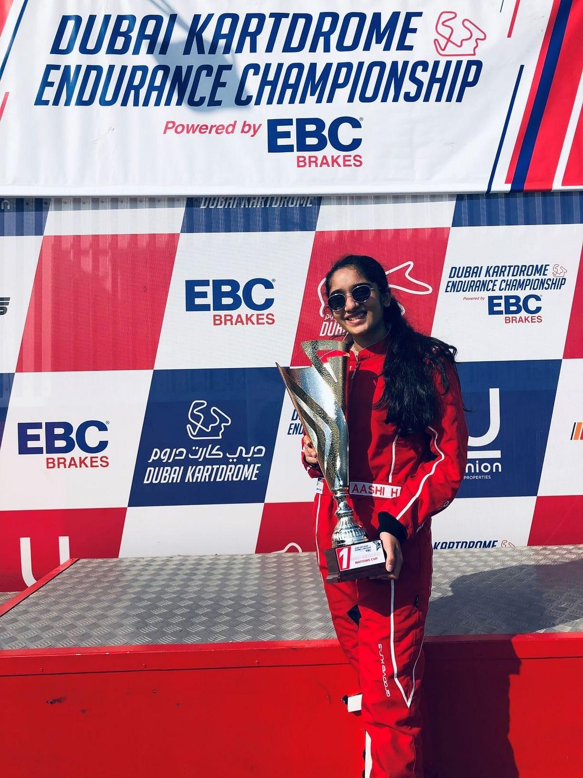 Aashi Hanspal grabs two podiums at the Dubai Endurance Karting Championship