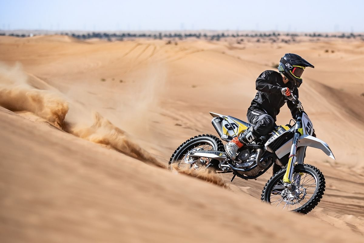 Ashish Raorane tackling stage one of the Dakar
