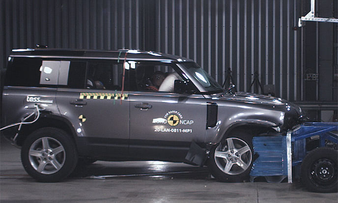Land Rover Defender scored a maximum rating of five stars in the Euro NCAP crash test