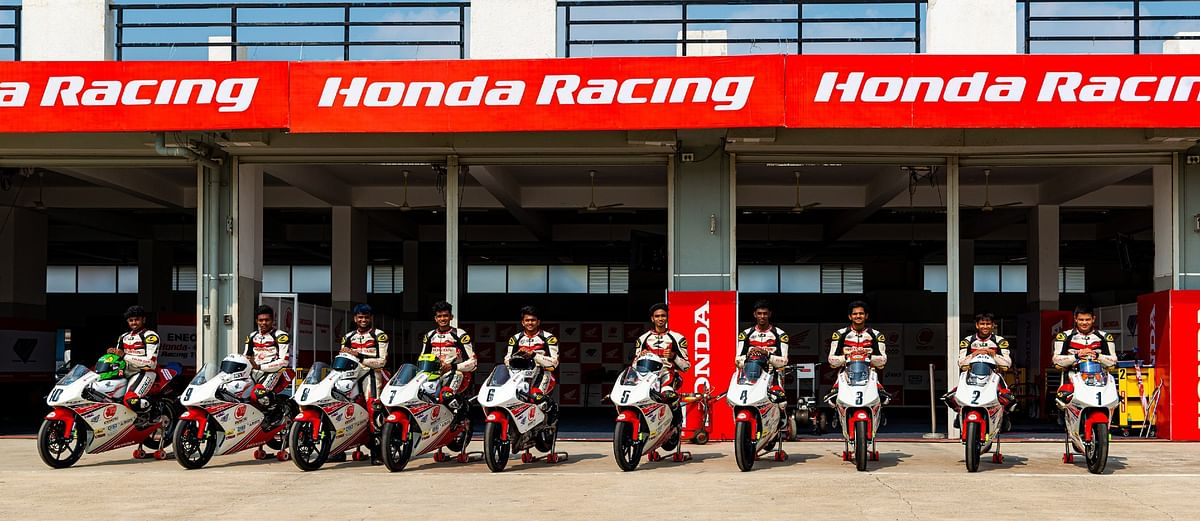 Sarthak Chavan (second from right) currently heads the Idemitsu Honda India NSF250R Talent Cup