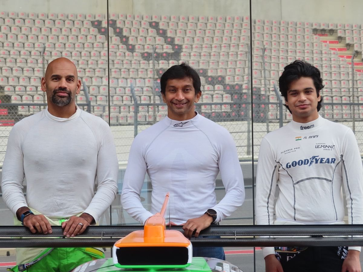 Narain Karthikeyan (centre), Arjun Maini (right) and Naveen Rao are part of Racing Team India's team for the 2021 Asian Le Mans Series in Abu Dhabi