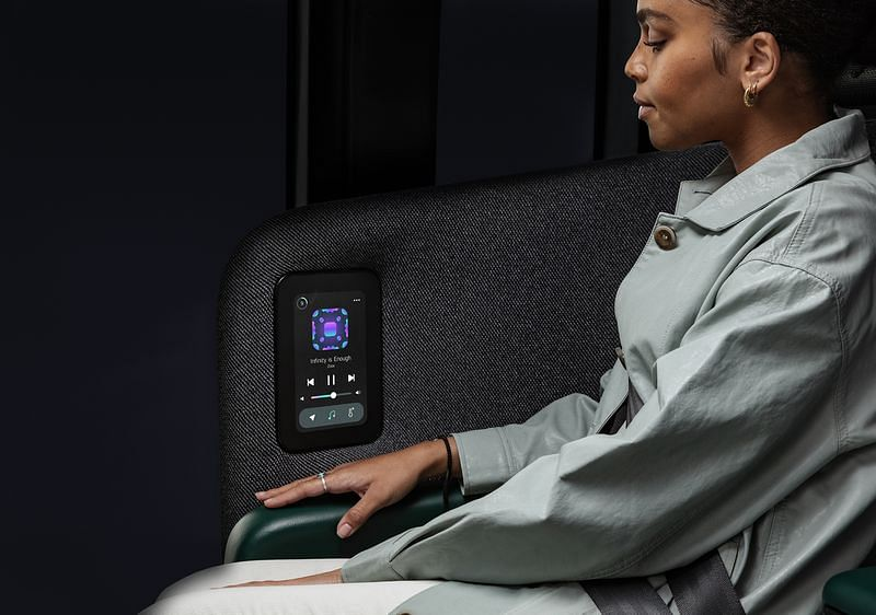 Each seat has a touchscreen display to control various functions