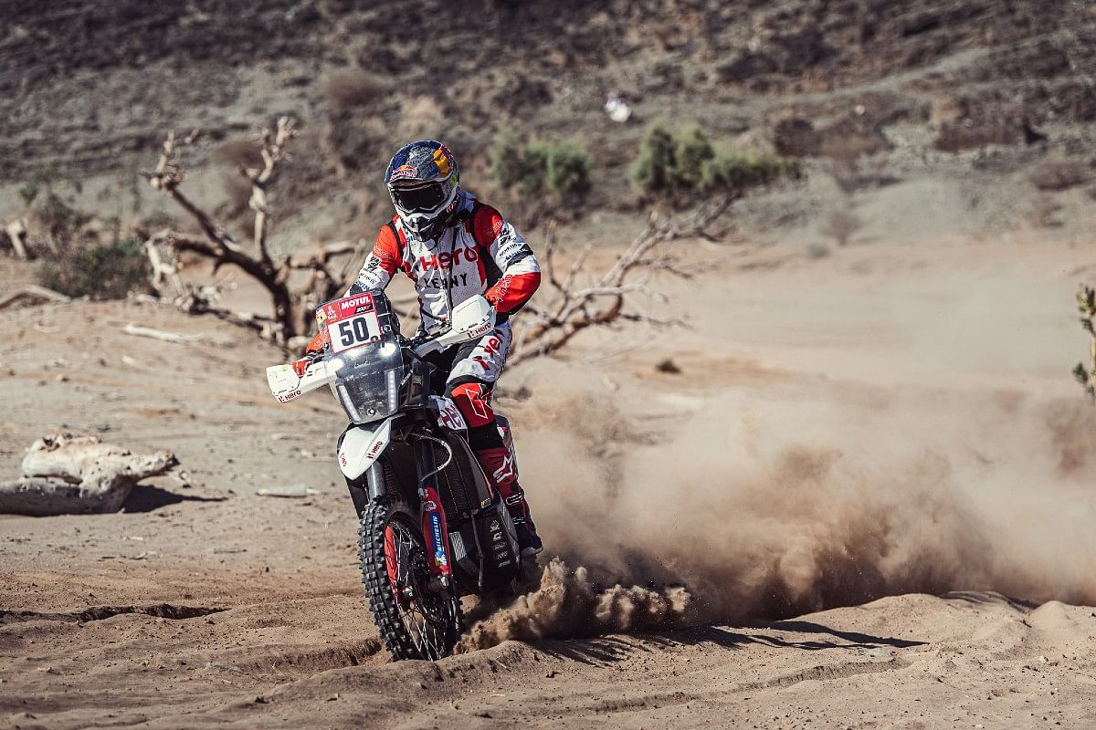 C S Santosh in action during Stage 1 of the 2021 Dakar Rally