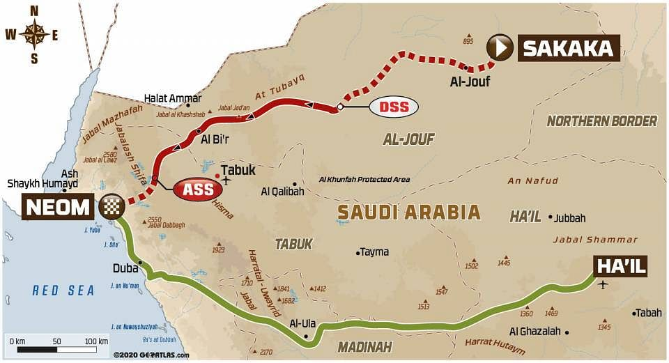 Stage 8 took the drivers from Sakaka to Neom